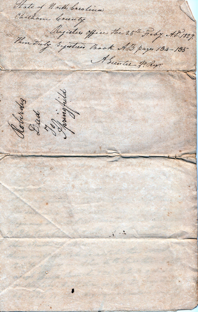 Page 1 of 1828 Deed: Kinchen Roberts to Thomas Springfield