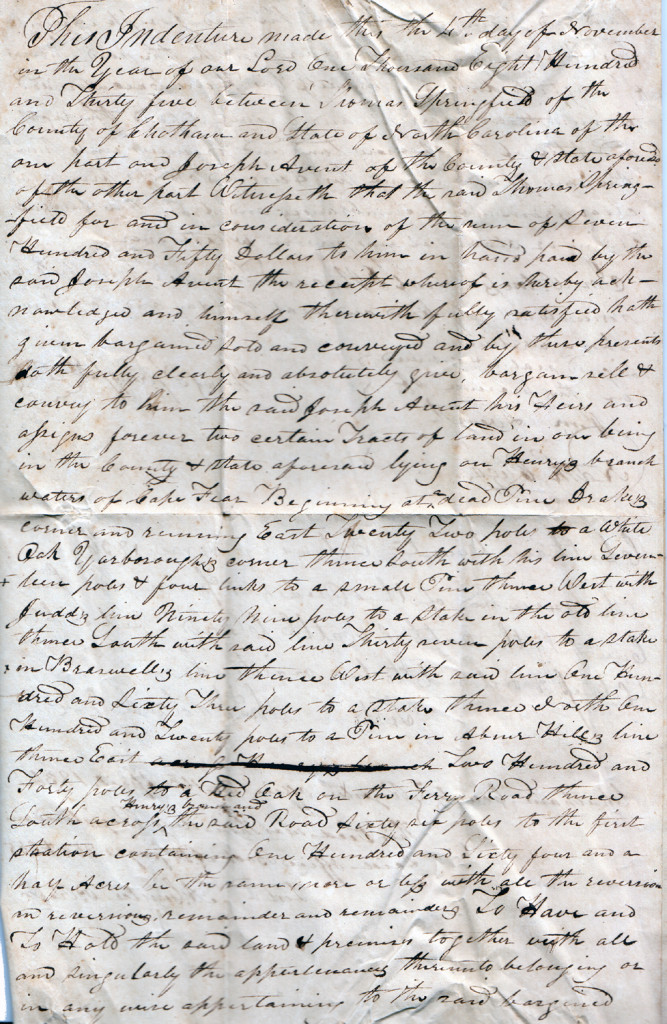Page 1 of 1835 Deed: Thomas Springfield to Joseph Avent (November)