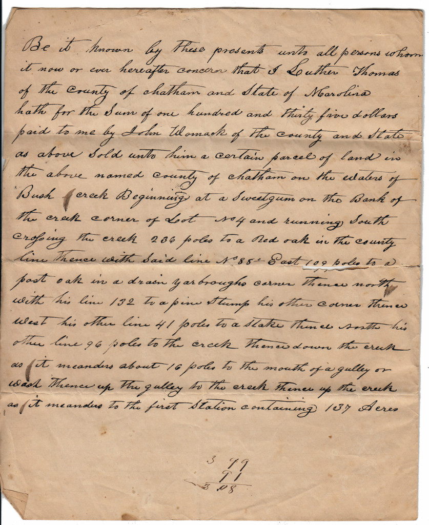 Page 1 of 1843 Deed: Luther Thomas to John Womack