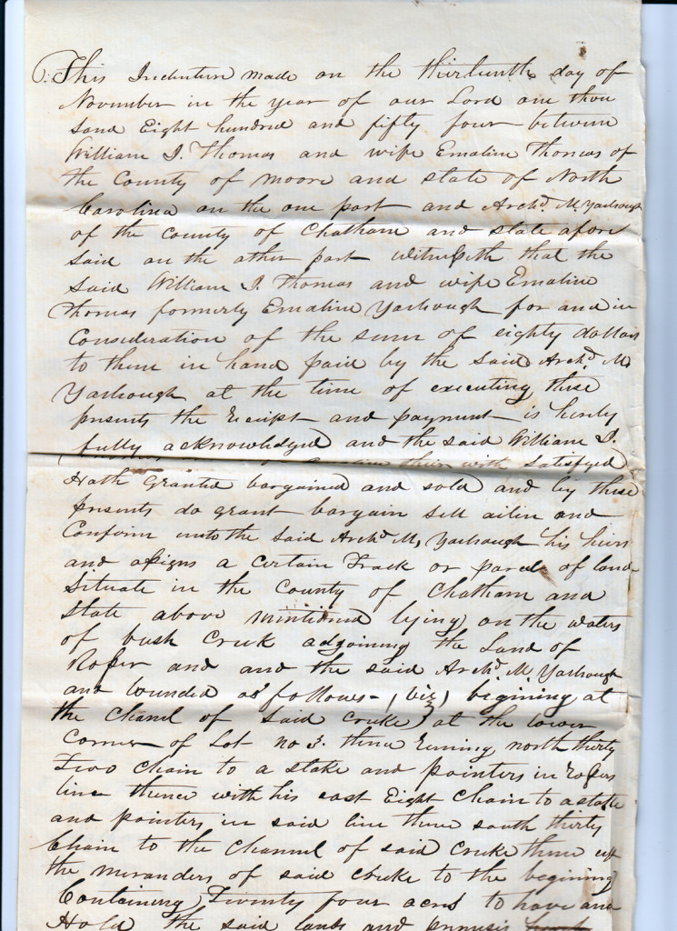 Page 1 of 1854 Deed: William J Thomas to Archibald Murphy Yarborough From the papers of Merry T. Pittman