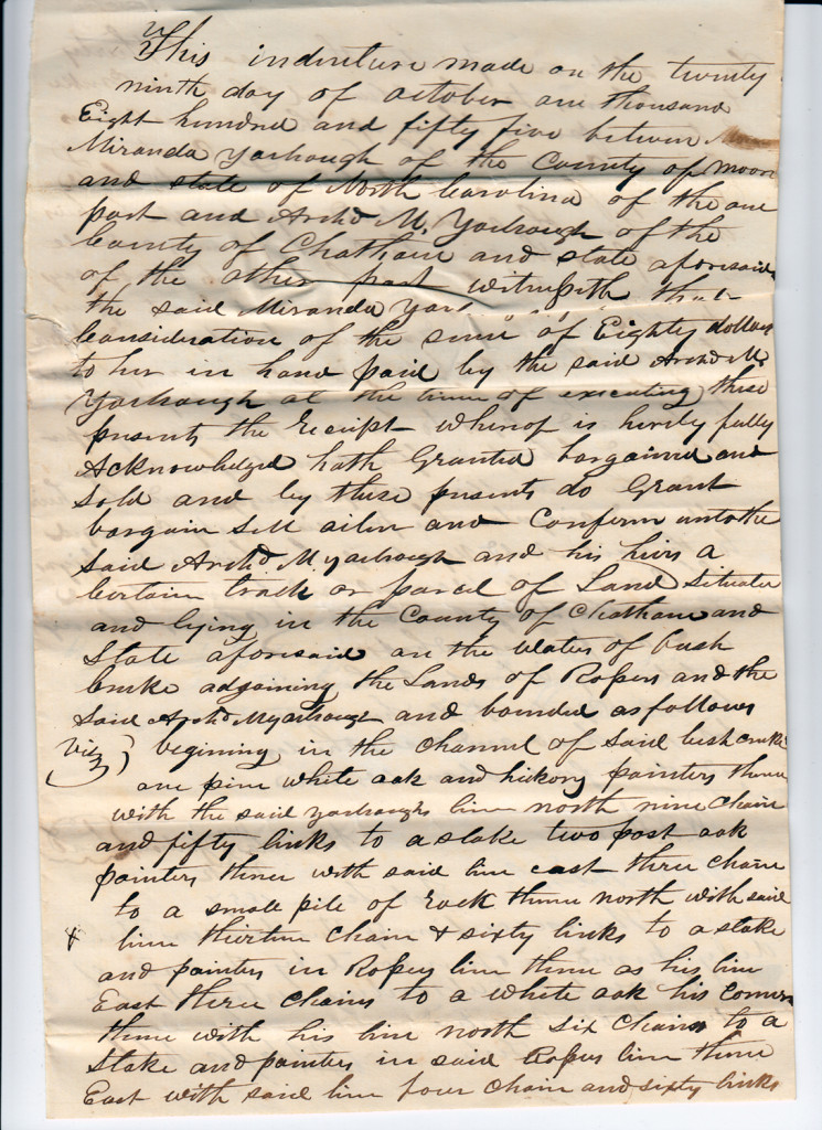 Page 1 of 1855 Deed: Miranda Yarborough to Archibald Murphy YarboroughFrom the papers of Merry T. Pittman
