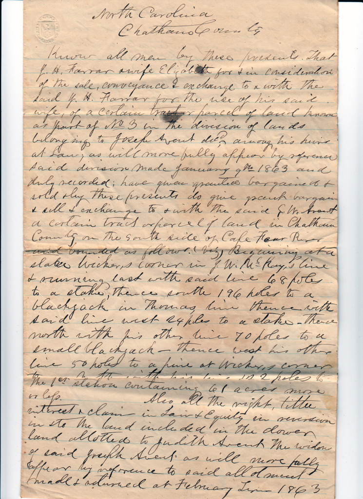 Page 2 of 1868 Deed: J.H. Farrar to G.W. AventFrom the papers of Merry T. Pittman