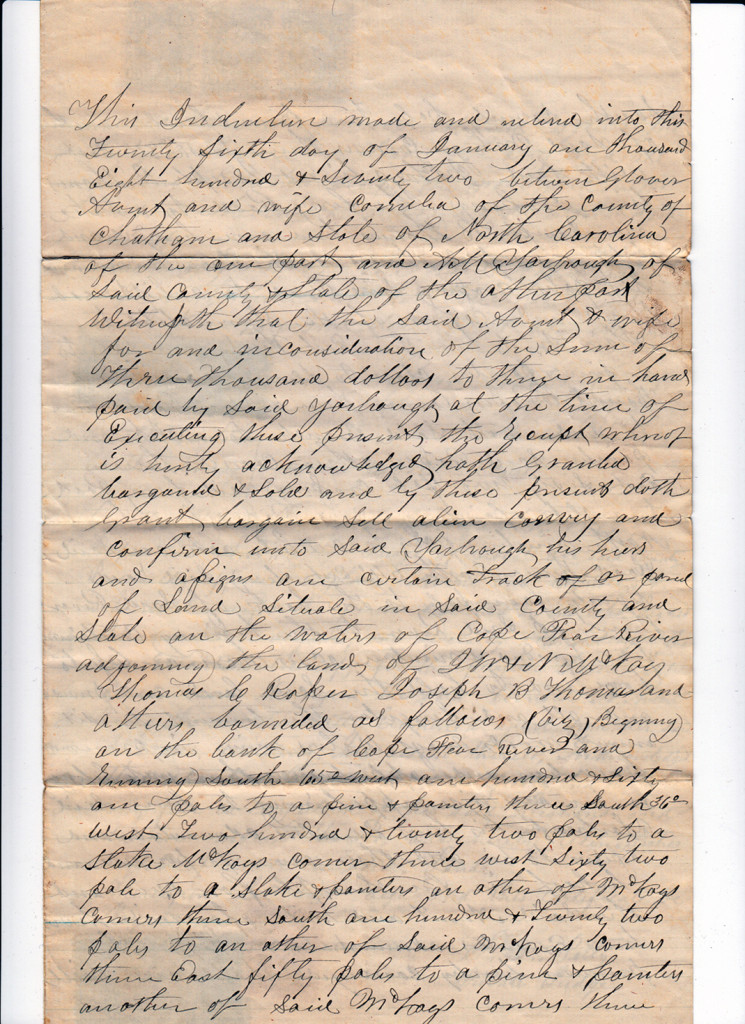 Page 1 of 1872 Deed and Plat: Glover Avent to Archibald Murphy YarboroughFrom the papers of Merry T. Pittman