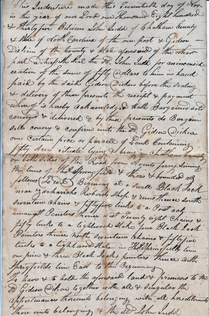 Page 1 of 1835 Deed: John Judd to Gideon Dickens