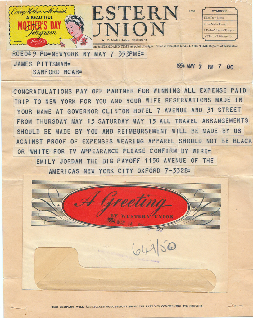 1954 Telegram from The Big Payoff to Jack and Merry Pittman