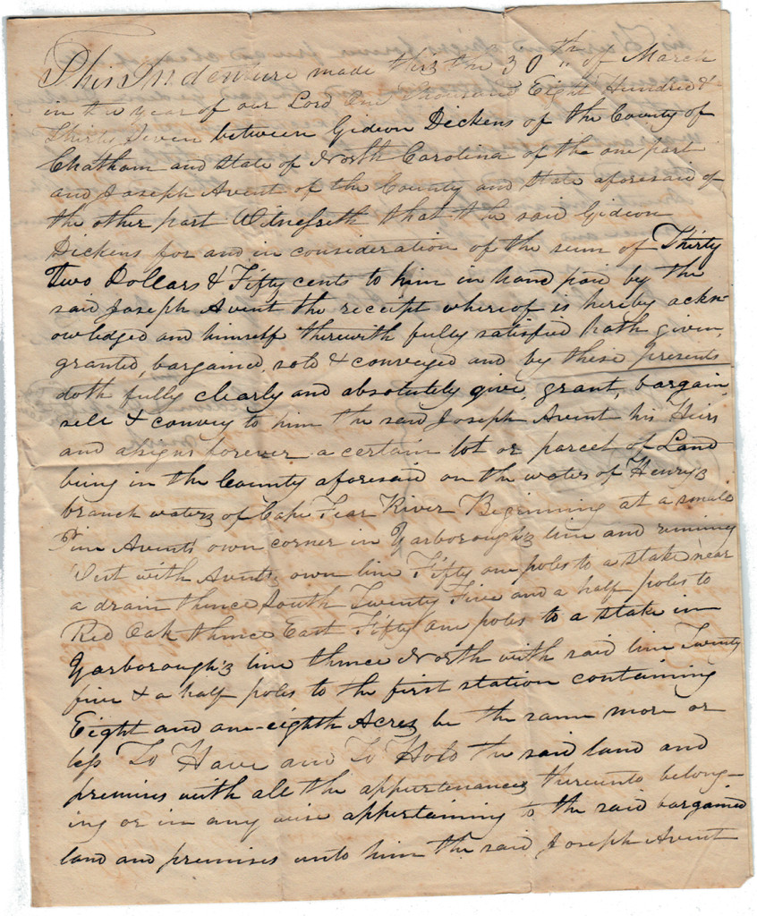 Page 1 of 1837 Deed: Dickens to Avent