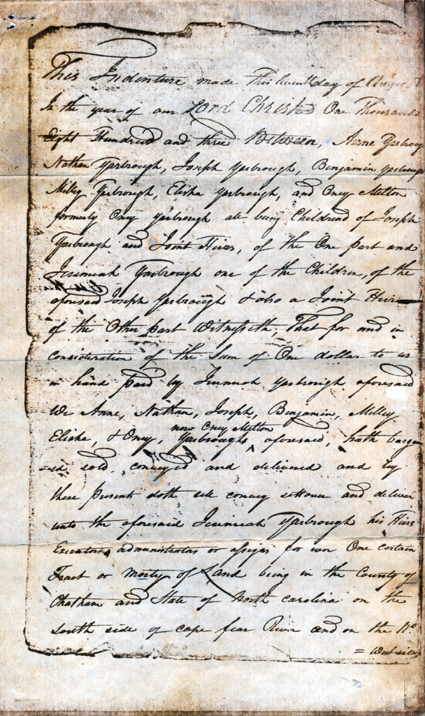 Page 1 of 1803 Deed: Children of Joseph Yarborough to Jeremiah Yarborough
