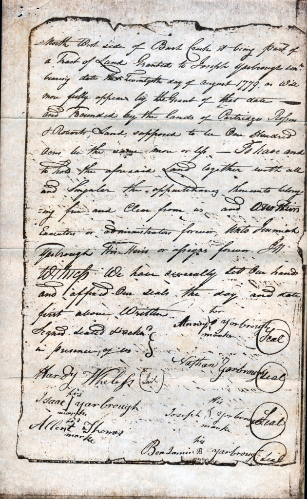 Page 2 of 1803 Deed: Children of Joseph Yarborough to Jeremiah Yarborough