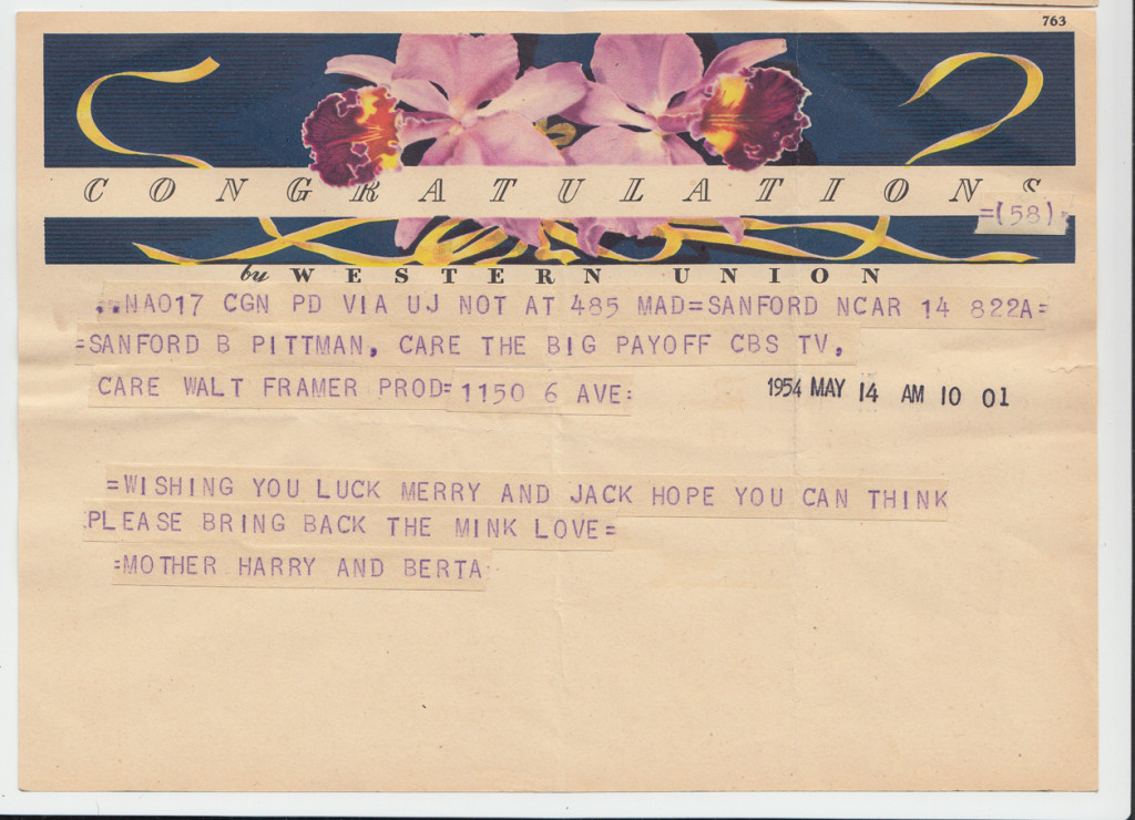 1954 Telegram from to Jack and Merry Pittman at The Big Payoff, New York