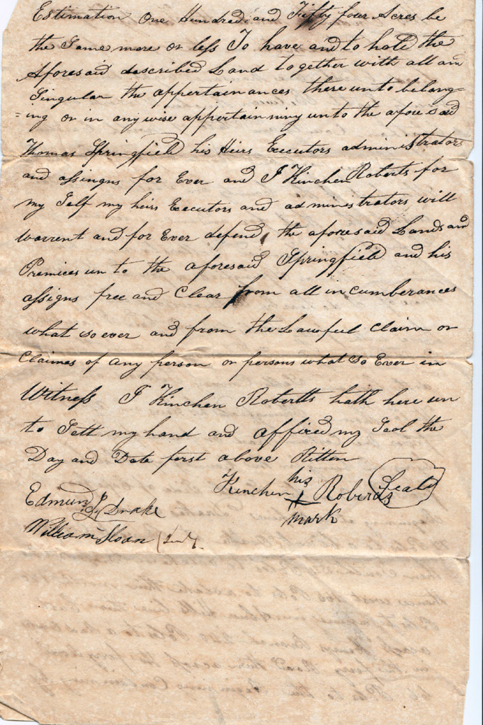 Page 3 of 1828 Deed: Kinchen Roberts to Thomas Springfield