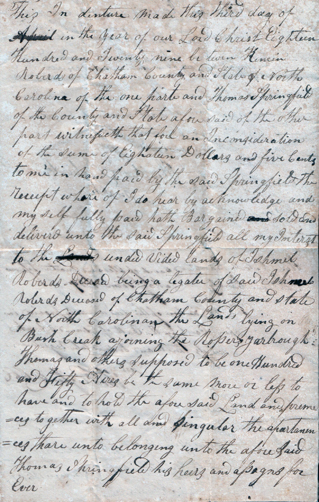 Page 1 of 1829 Deed: Kinchen Roberts to Thomas Springfield