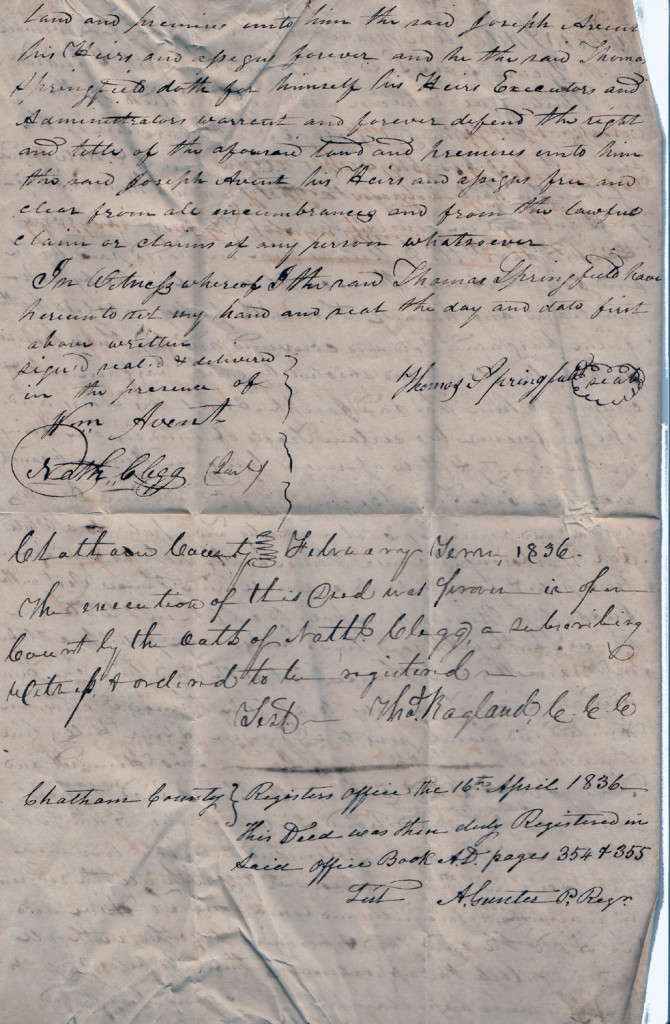 Page 2 of 1835 Deed: Thomas Springfield to Joseph Avent (November)