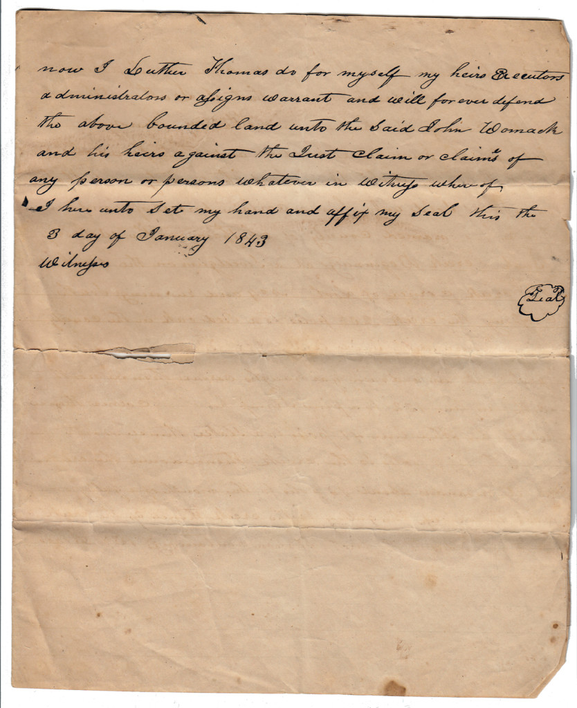 Page 2 of 1843 Deed: Luther Thomas to John Womack
