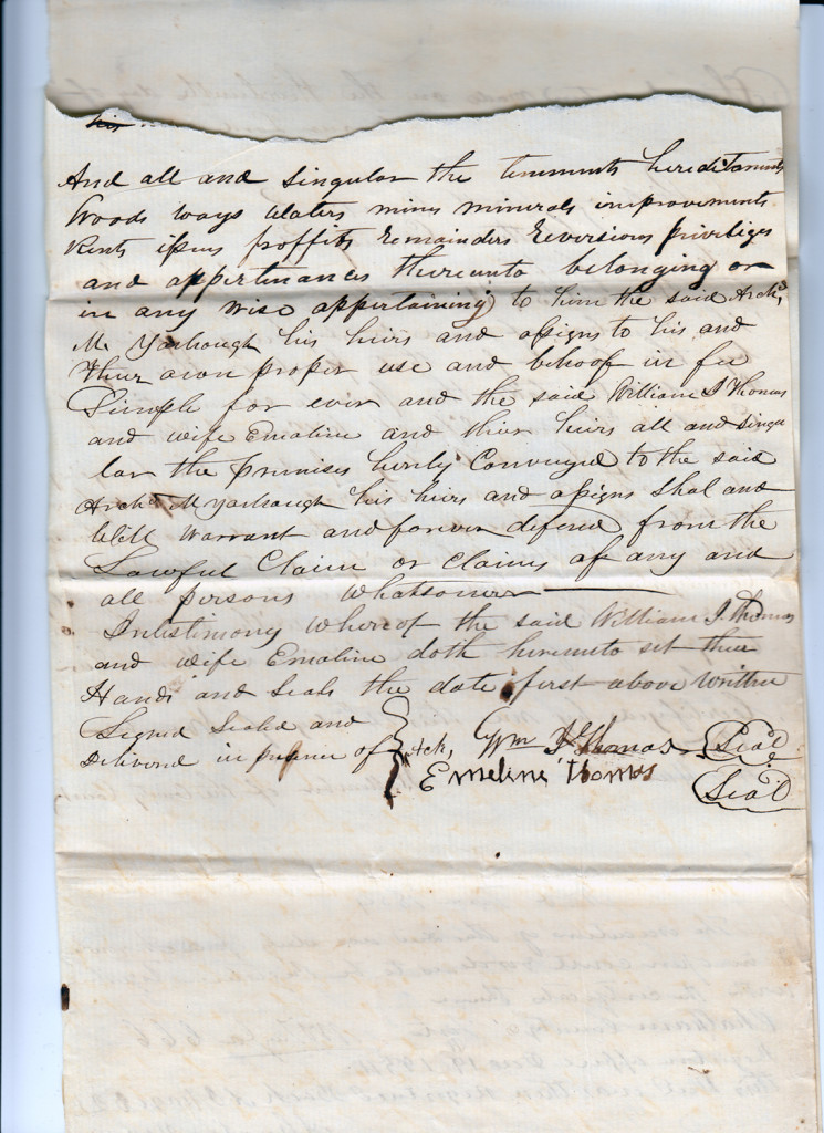 Page 2 of 1854 Deed: William J Thomas to Archibald Murphy Yarborough From the papers of Merry T. Pittman