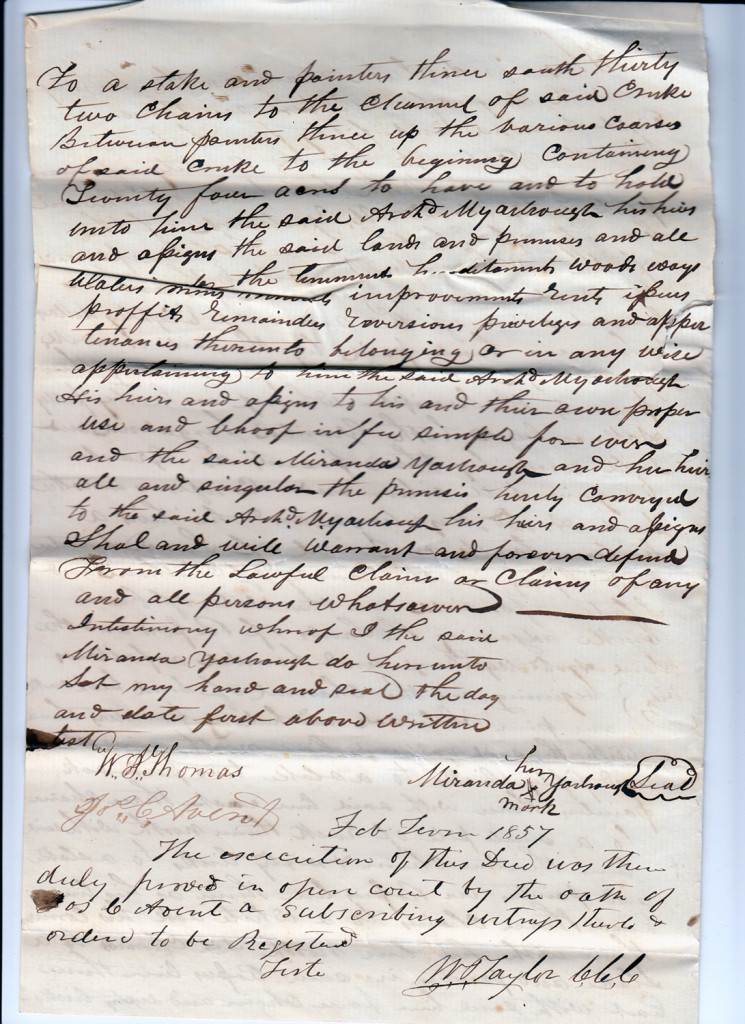 Page 2 of 1855 Deed: Miranda Yarborough to Archibald Murphy YarboroughFrom the papers of Merry T. Pittman