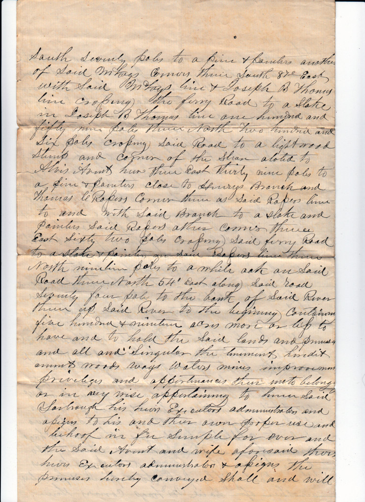 Page 2 of 1872 Deed and Plat: Glover Avent to Archibald Murphy YarboroughFrom the papers of Merry T. Pittman