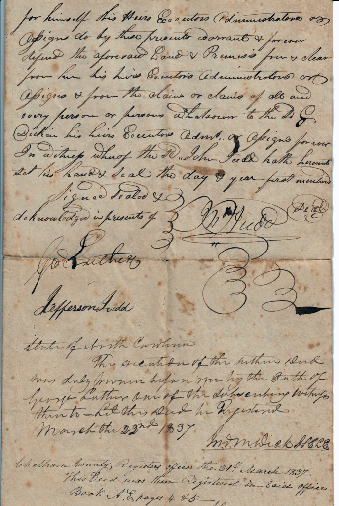 Page 2 of 1835 Deed: John Judd to Gideon Dickens