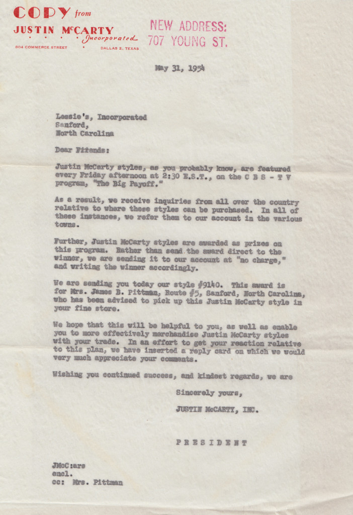McCarty Prize Letter from The Big PayoffFrom the papers of Merry T. Pittman