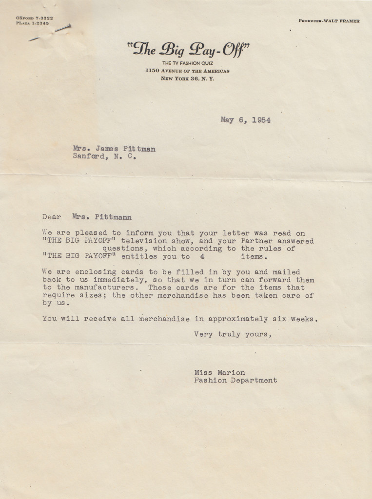 Prize Letter from The Big PayoffFrom the papers of Merry T. Pittman