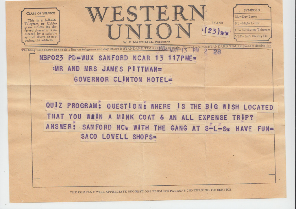 1954 Telegram to Jack and Merry Pittman at The Big Payoff, New York