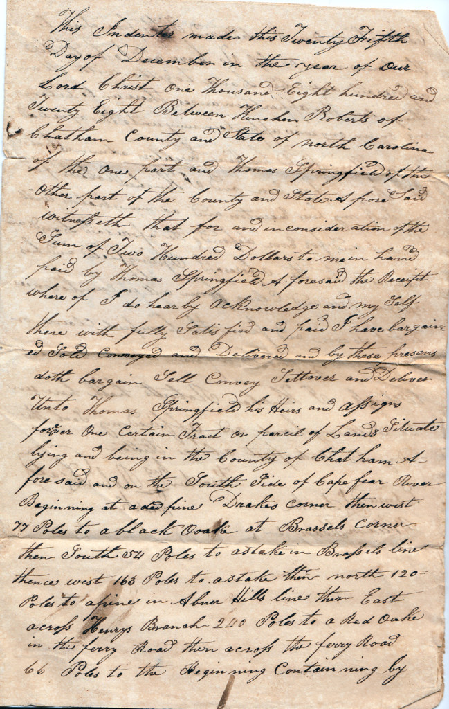 Page 2 of 1828 Deed: Kinchen Roberts to Thomas Springfield