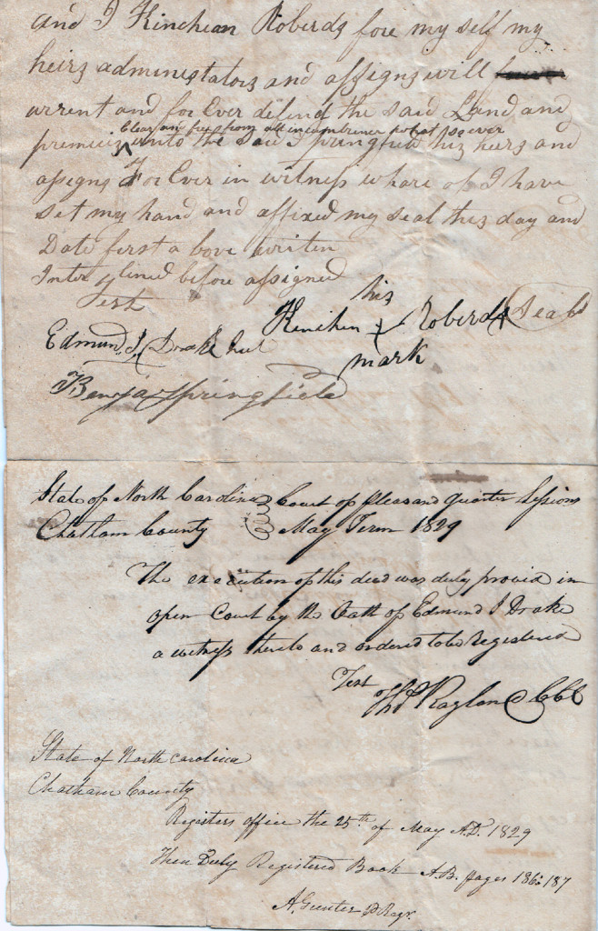 Page 2 of 1829 Deed: Kinchen Roberts to Thomas Springfield