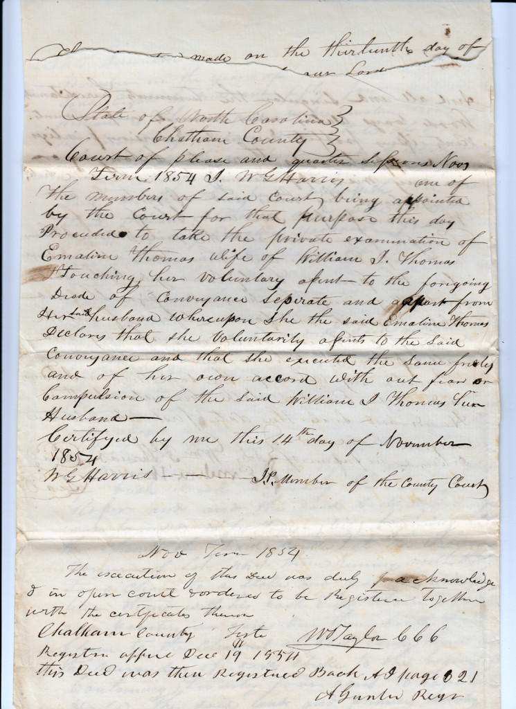 Page 3 of 1854 Deed: William J Thomas to Archibald Murphy Yarborough From the papers of Merry T. Pittman