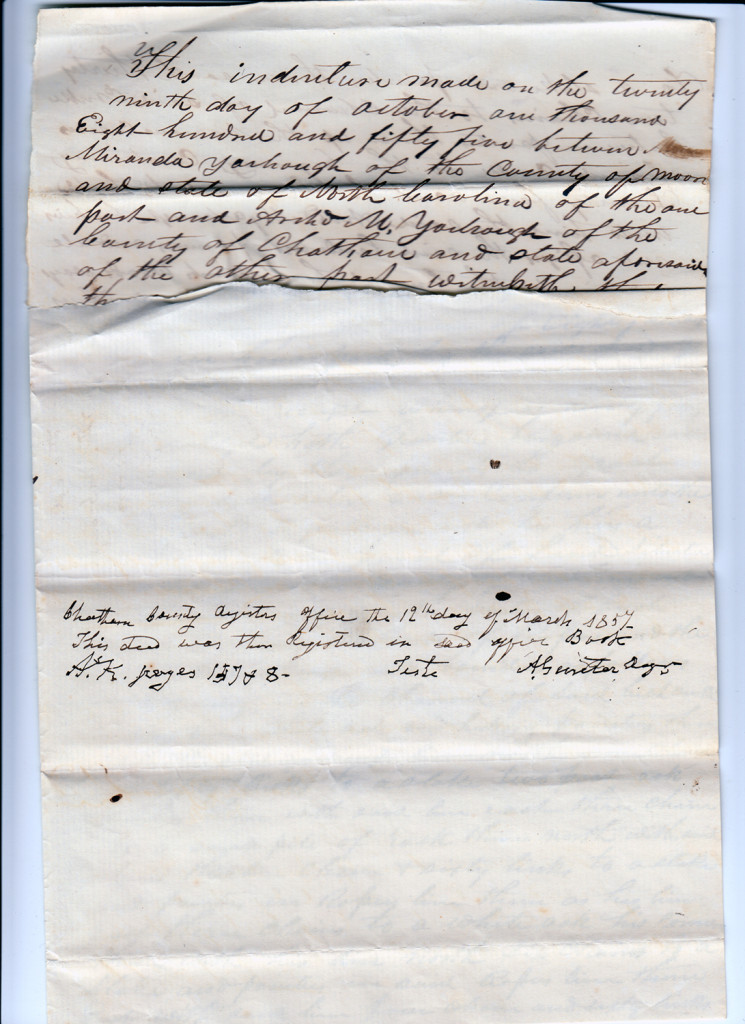 Page 3 of 1855 Deed: Miranda Yarborough to Archibald Murphy YarboroughFrom the papers of Merry T. Pittman