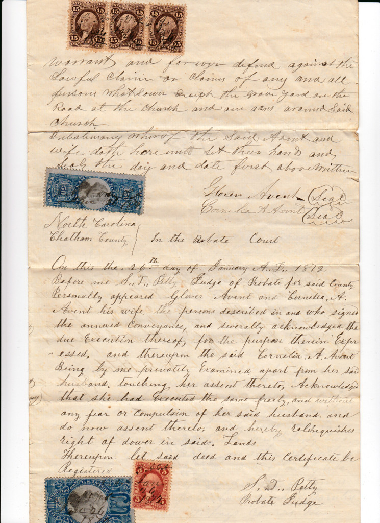 Page 3 of 1872 Deed and Plat: Glover Avent to Archibald Murphy YarboroughFrom the papers of Merry T. Pittman