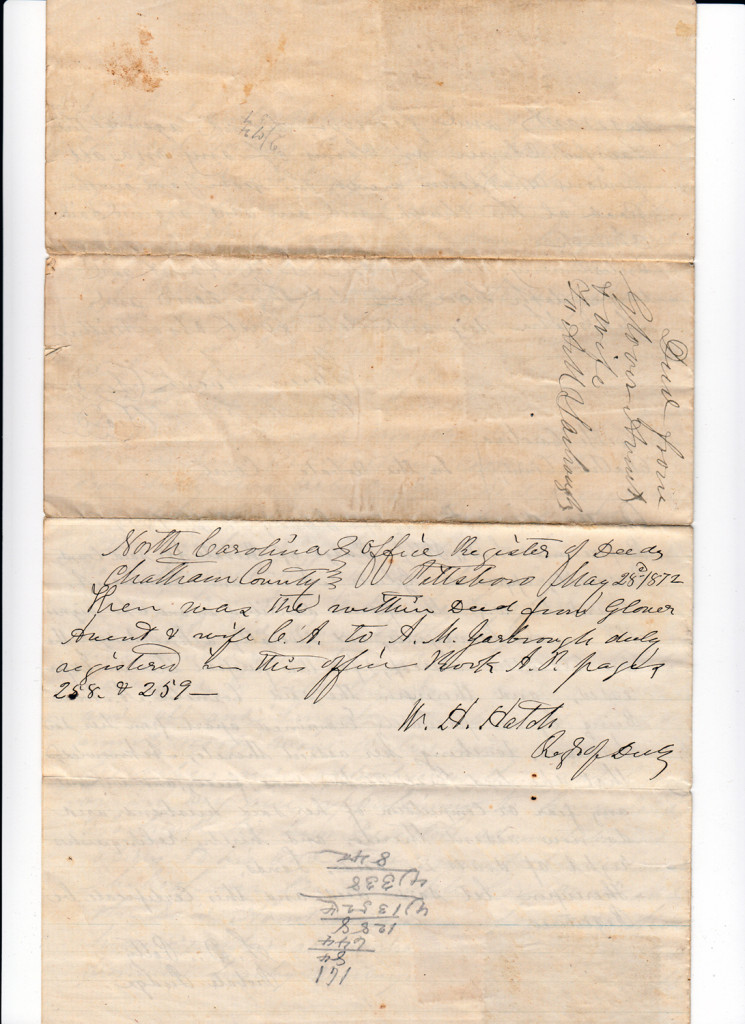 Page 4 of 1872 Deed and Plat: Glover Avent to Archibald Murphy YarboroughFrom the papers of Merry T. Pittman