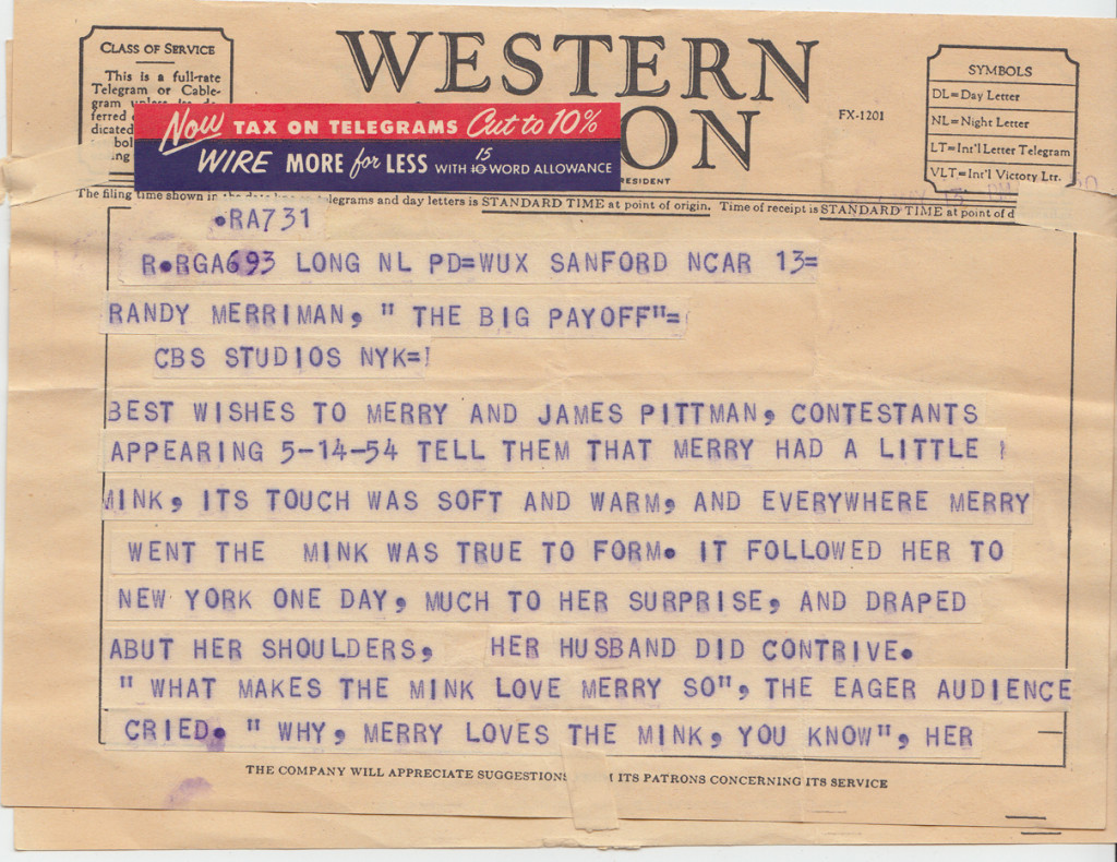 Page 1 of 1954 Telegram to Jack and Merry Pittman at The Big Payoff, New York