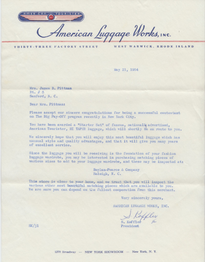 American Luggage Prize Letter from The Big PayoffFrom the papers of Merry T. Pittman