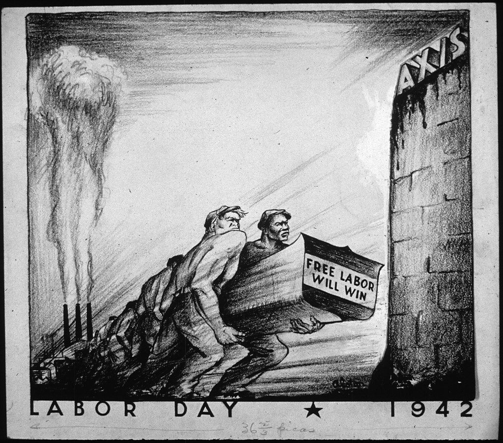 """LABOR DAY 1942 – NARA – 535654"" by Charles Henry Alston, 1907-1977, Artist (NARA record: 3569253) U.S. National Archives and Records Administration. Licensed under Public Domain via Wikimedia Commons"