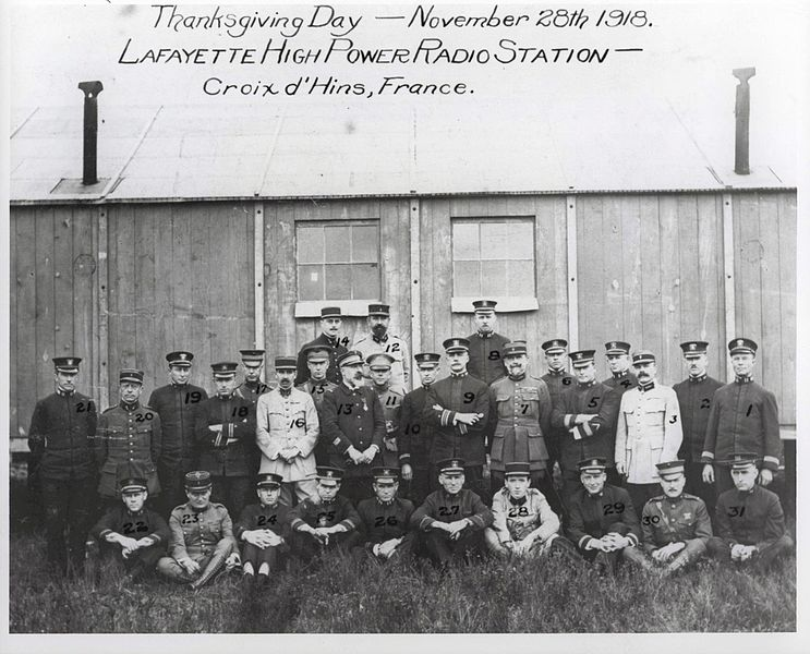 Thanksgiving Day, Lafayette_High_Power_Radio_Station,_Croix_d'Hins,_France, 28 November 1918 Courtesy Wikimedia Commons