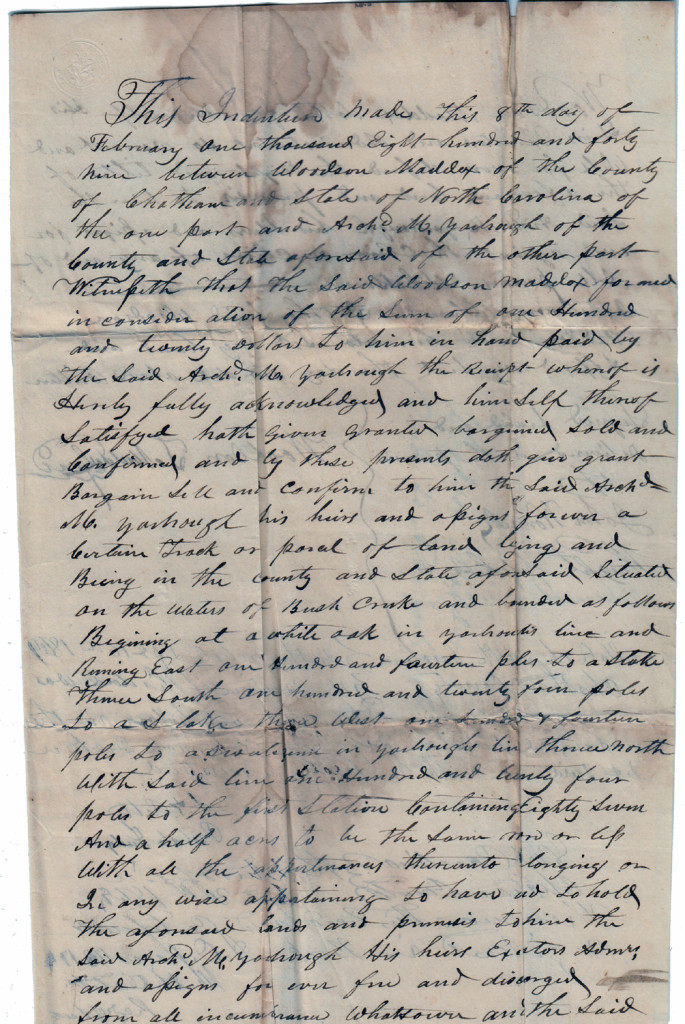 Page 1 of 1849 Deed: Woodson Maddox to Archibald Murphy Yarborough