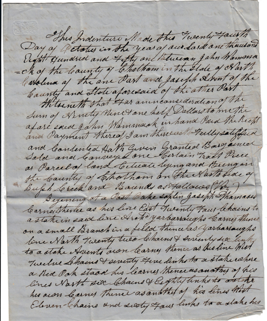 Page 1 of 1851 Deed and Plot: John Womack to Joseph Avent