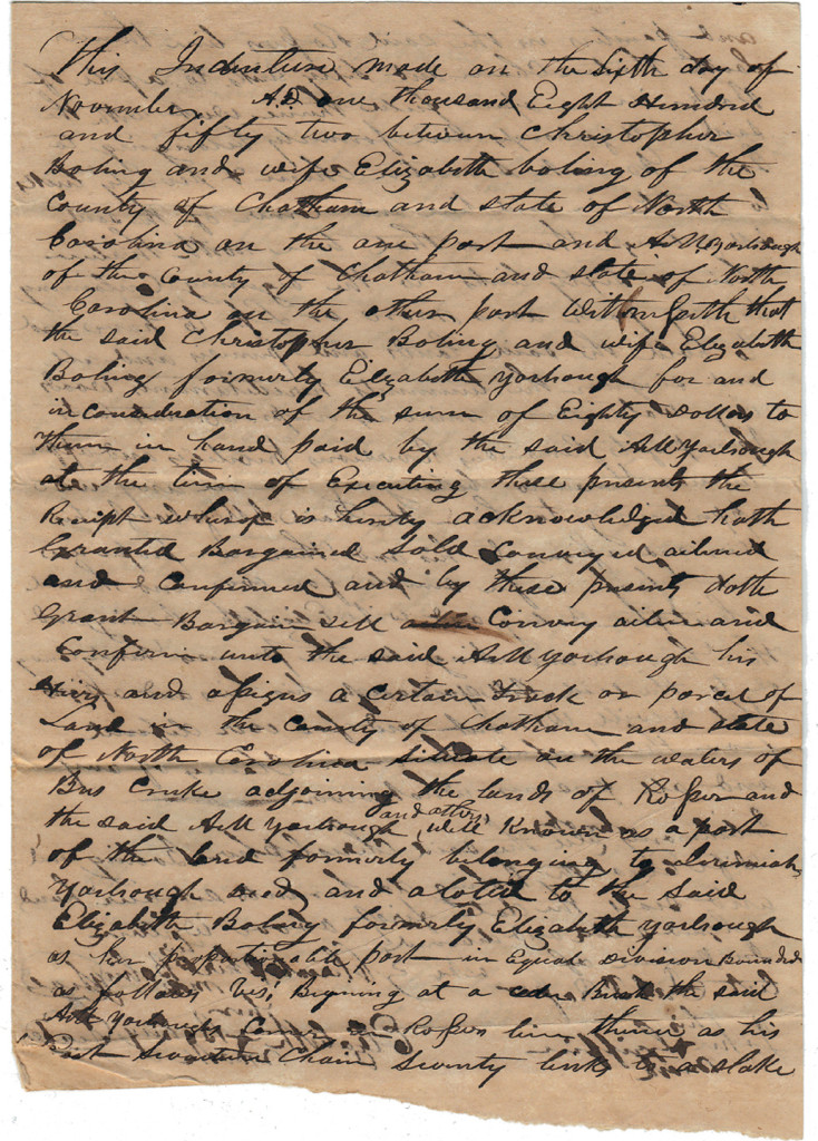 Page 1 of 1852 Deed: C Boling to Archibald Murphy Yarborough