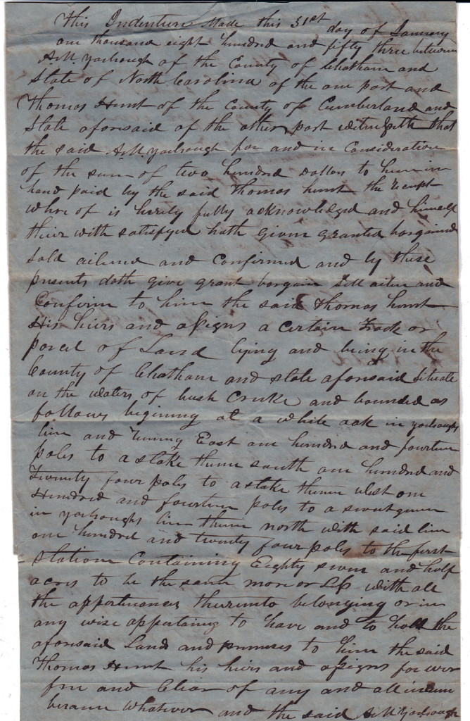 Page 1 of 1853 Deed: Archibald Murphy Yarborough to Thomas Hunt