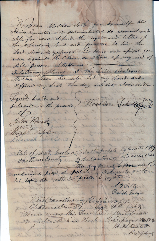 Page 2 of 1849 Deed: Woodson Maddox to Archibald Murphy Yarborough