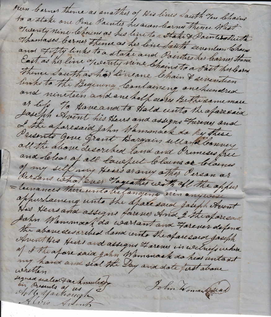 Page 2 of 1851 Deed and Plot: John Womack to Joseph Avent