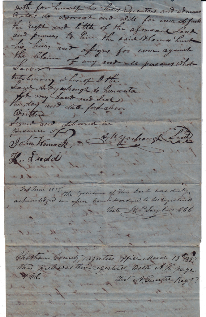 Page 2 of 1853 Deed: Archibald Murphy Yarborough to Thomas Hunt