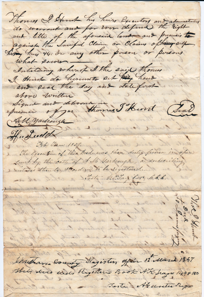 Page 2 of 1854 Deed: Thomas Hunt to James Fuquay