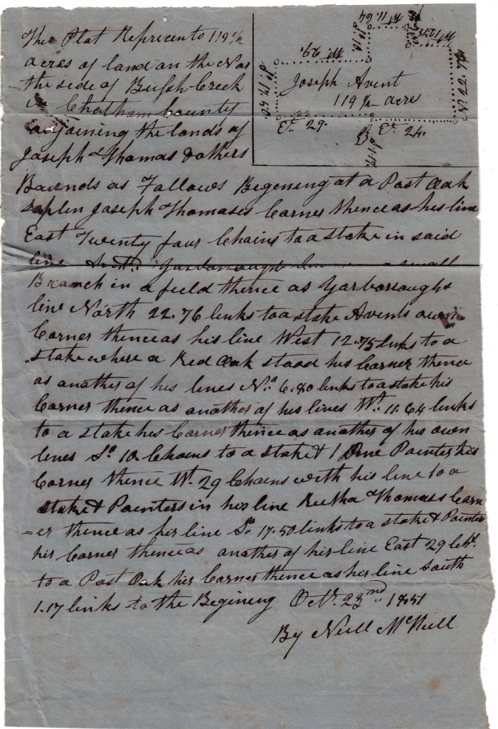 Page 3 of 1851 Deed and Plot: John Womack to Joseph Avent