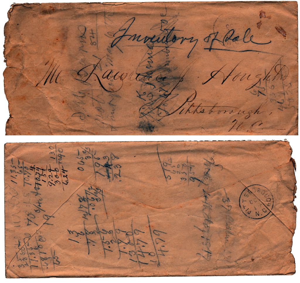 Envelope Front/Back: Archibald Murphy Yarborough to a Mr. Lawrence Houghton: List of Good to be Sold