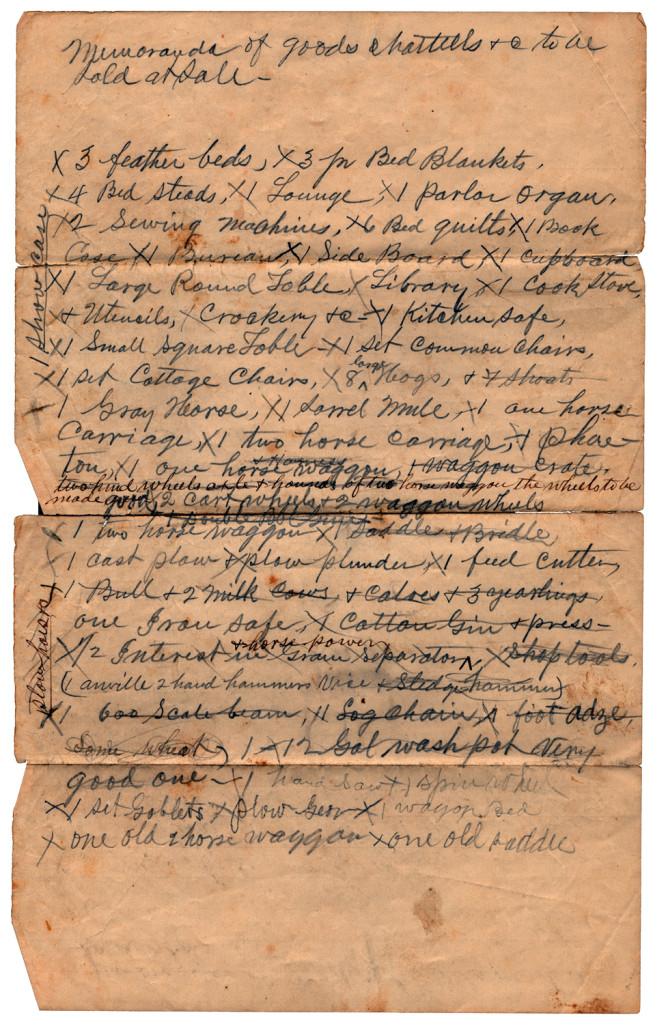 Front: Archibald Murphy Yarborough to a Mr. Lawrence Houghton: List of Good to be Sold