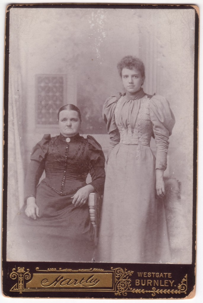 Sarah Jane Birch (b. abt. 1838, Yorkshire; d. abt. 1891-1901), wife of Edward Ratcliffe; and daughter Alice Ratcliffe (b. 1876, Chorley), wife of Hugh Fishwick.