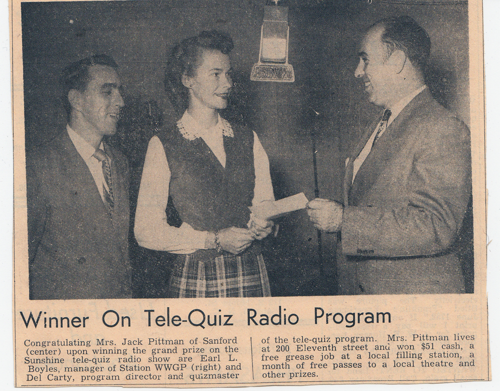 Newspaper Clipping about contestant Merry Pittman