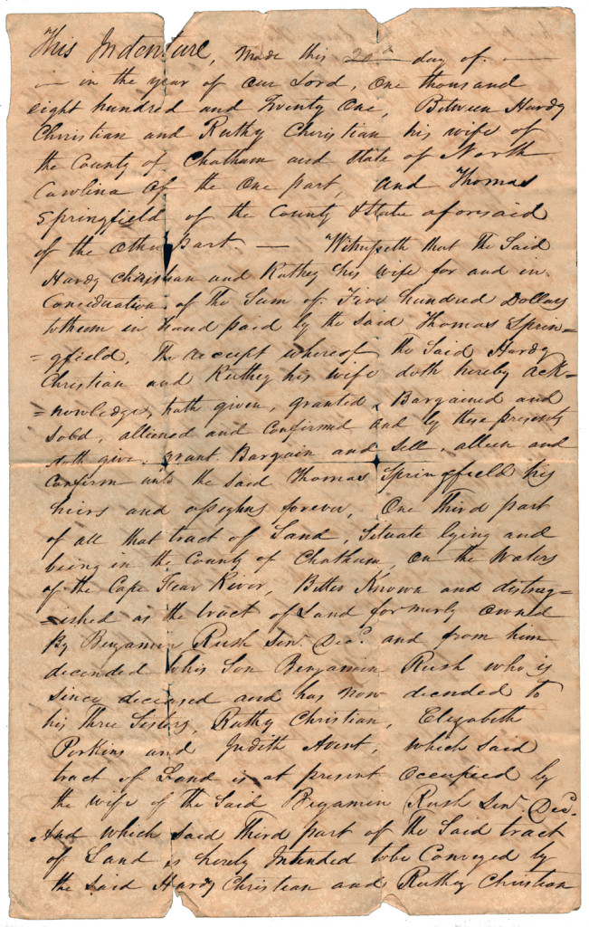 Page 1 of 1821 Deed: Hardy Christian and wife Ruthy to Thomas Springfield