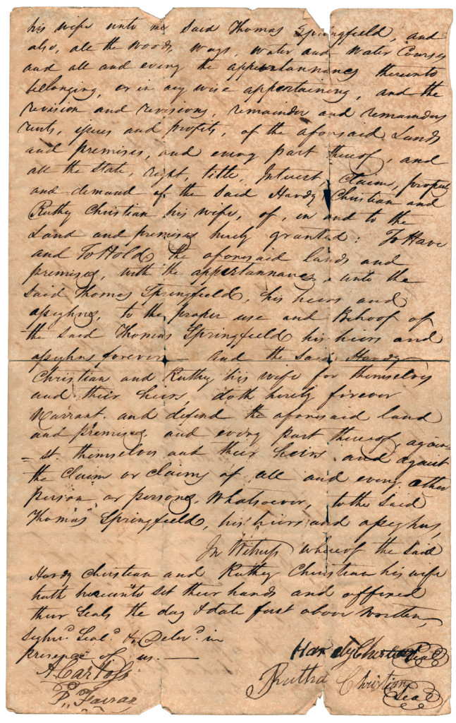 Page 2 of 1821 Deed: Hardy Christian and wife Ruthy to Thomas Springfield