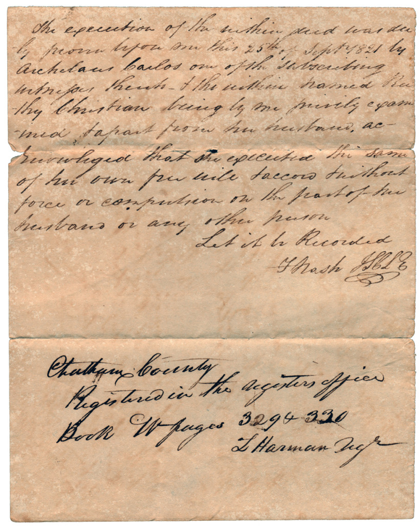 Page 3 of 1821 Deed: Hardy Christian and wife Ruthy to Thomas Springfield